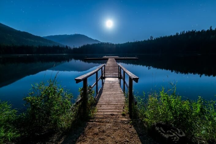 Brown wooden dock at the lake