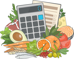 An illustration of the Weight Loss Calculator for understanding how to get into a calorie deficit and find the right portions surrounded by fruits, grains, fish, and vegetables.