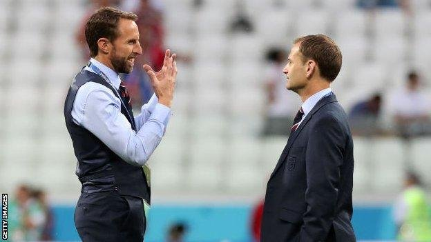 England manager Gareth Southgate and then-FA technical director Dan Ashworth, at the World Cup in Russia, in 2018