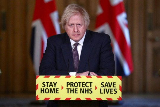 Boris Johnson during a press conference in March this year