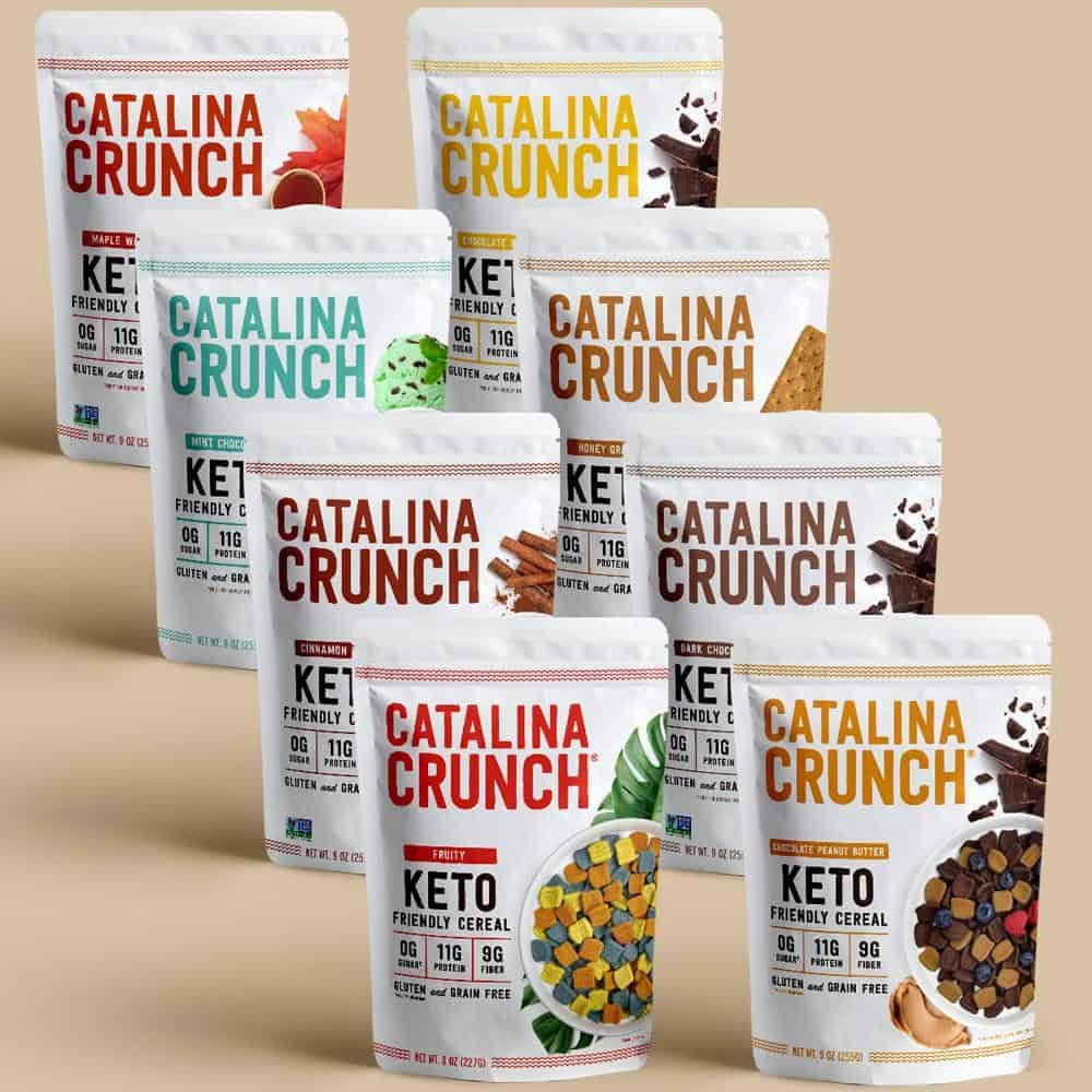 Catalina Crunch Cereal. All 8 Flavors lined up in two separate rows