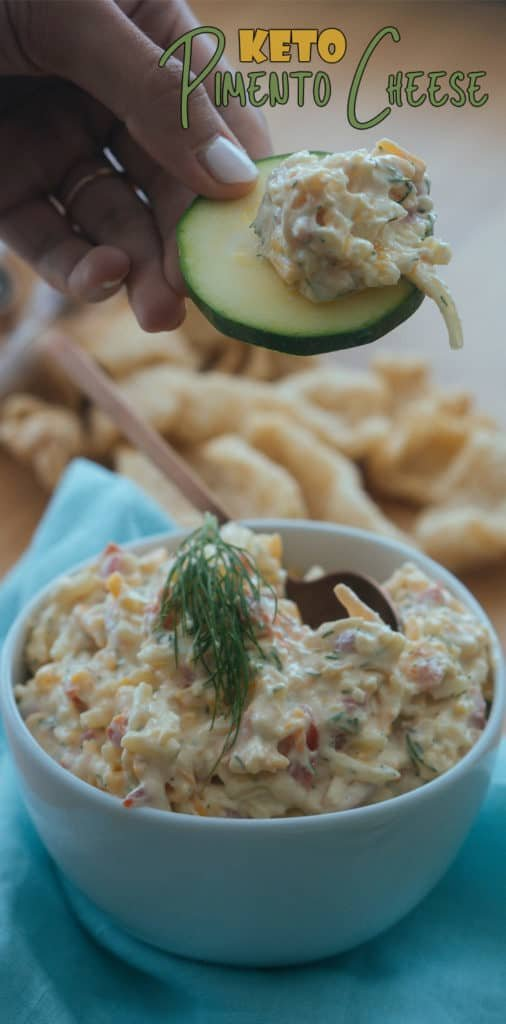 This easy keto pimento cheese recipe is the perfect low carb snack to serve at your next game night or party that will please everyone in the room!