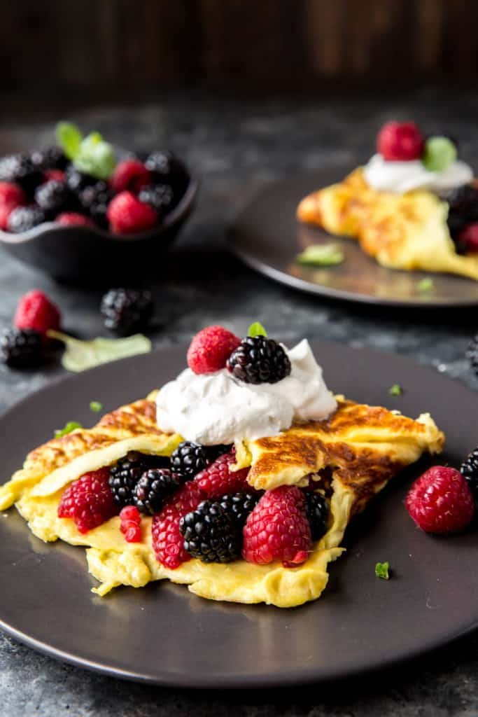 This Sweet Healthy Omelette puts a spin on breakfast with a touch of sweetness and some berries! Some great low carb breakfast options are keto oatmeal, keto bagels, or protein waffles!