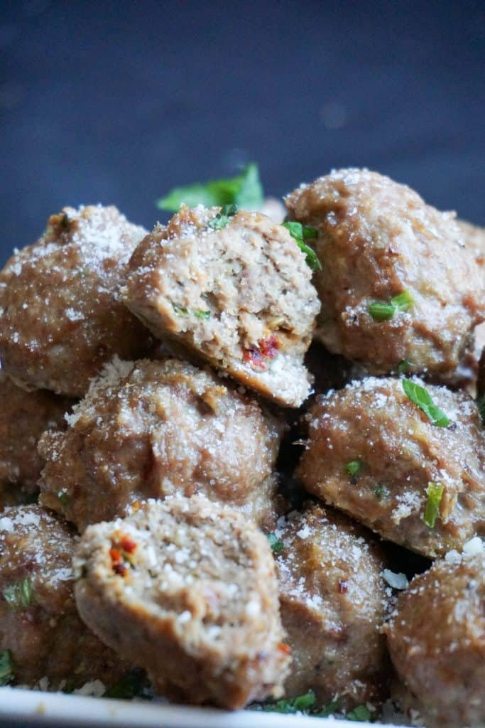Our Low Carb Chicken Meatballs are well seasoned and oven baked creating the perfect, juicy meatball!