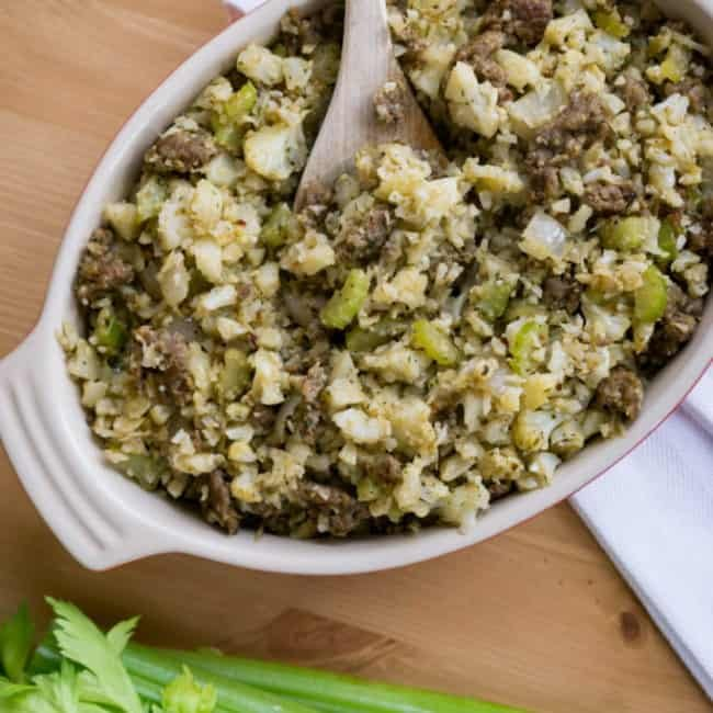 keto friendly stuffing in serving dish