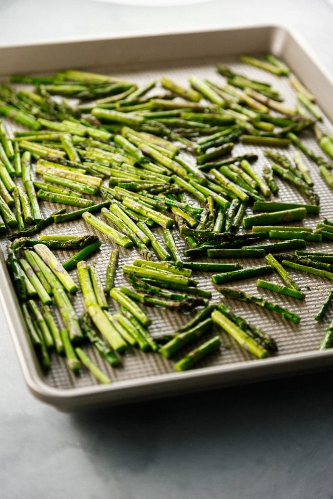 Roasted asparagus in a sheet pan