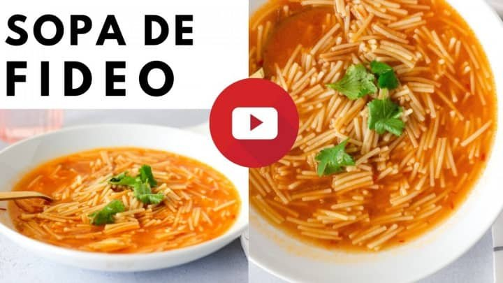 2 Images of noodle soup in a bowl with text saying, 'Sopa de fideo'.