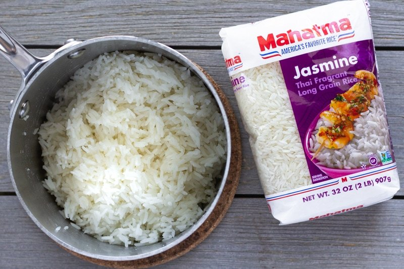 Cooked Mahatma rice in a pot
