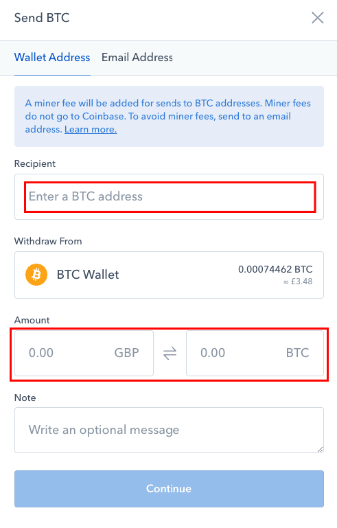 How to enter your Bitcoin wallet address to send funds off Coinbase