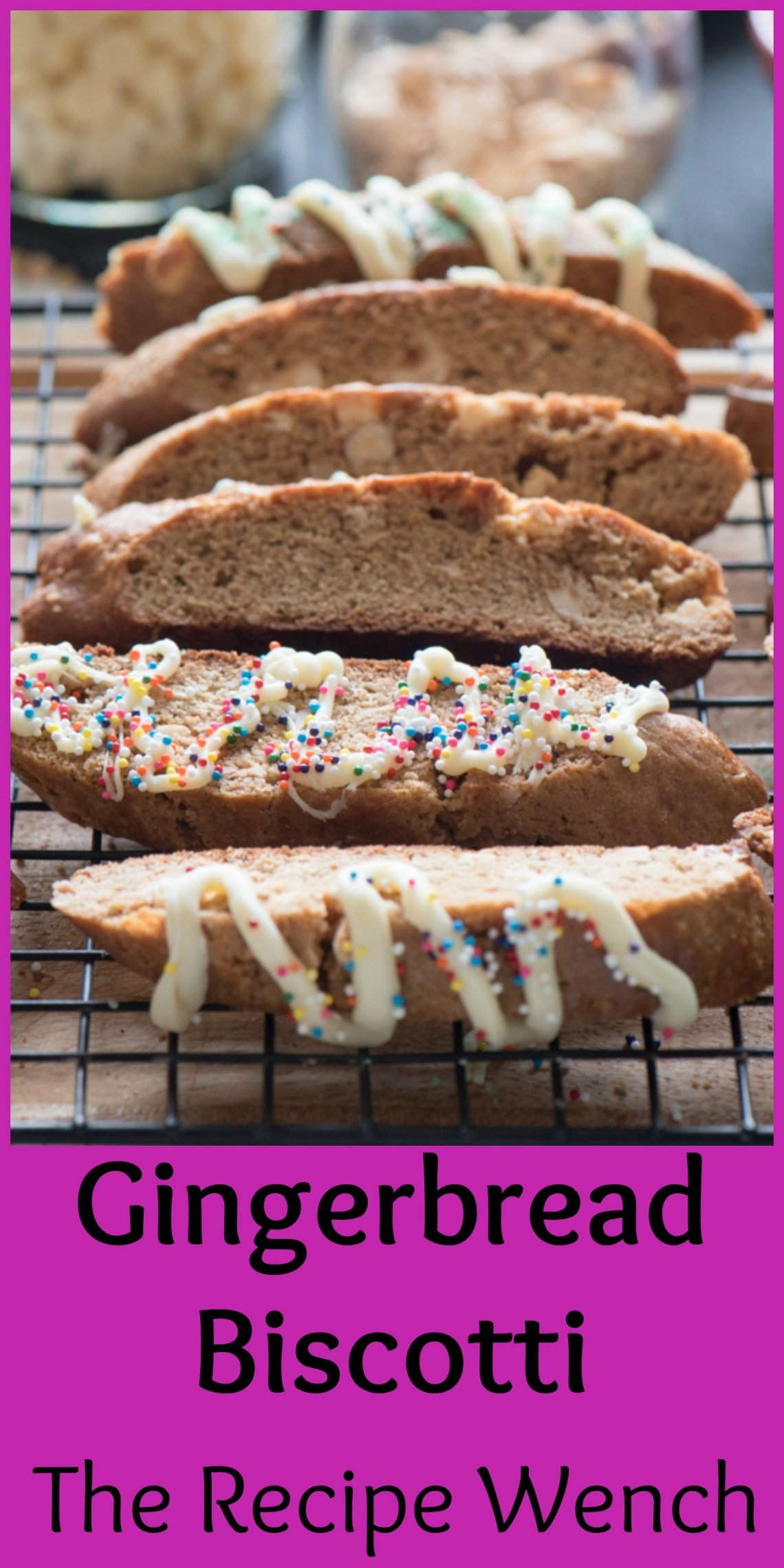 Fun, festive and tasty gingerbread white chocolate biscotti with white chocolate. Pour yourself a glass of milk or cup of coffee and dunk away!  
