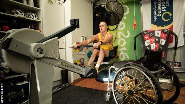 Australian rower Erik Horrie training in his shed during the pandemic