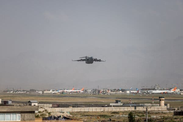 A C-17 military transport plane taking off from the international airport in Kabul.