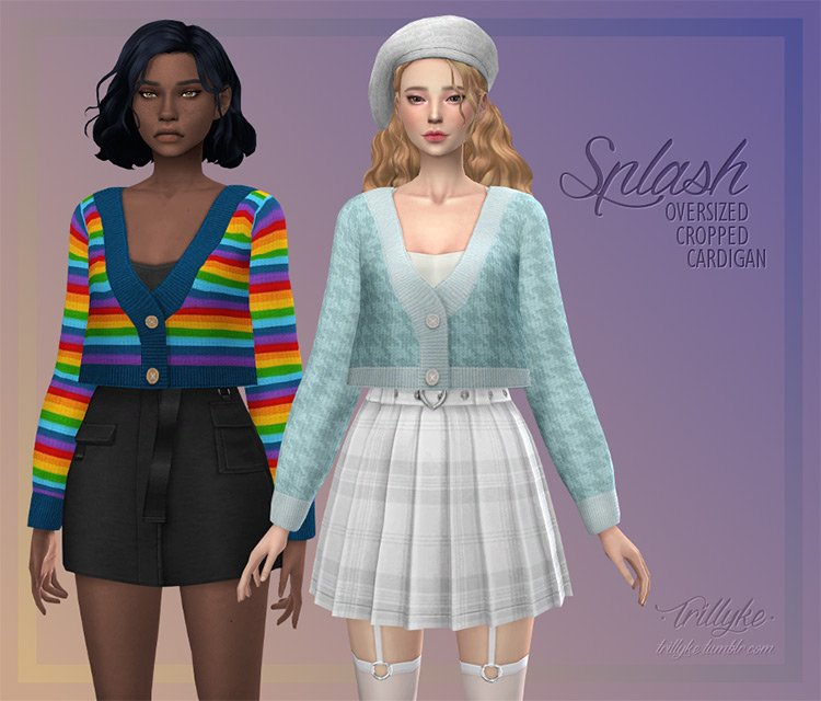 Oversized Cropped Cardigan CC for The Sims 4