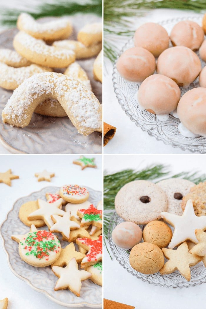 Photo collage of Christmas cookies on plates