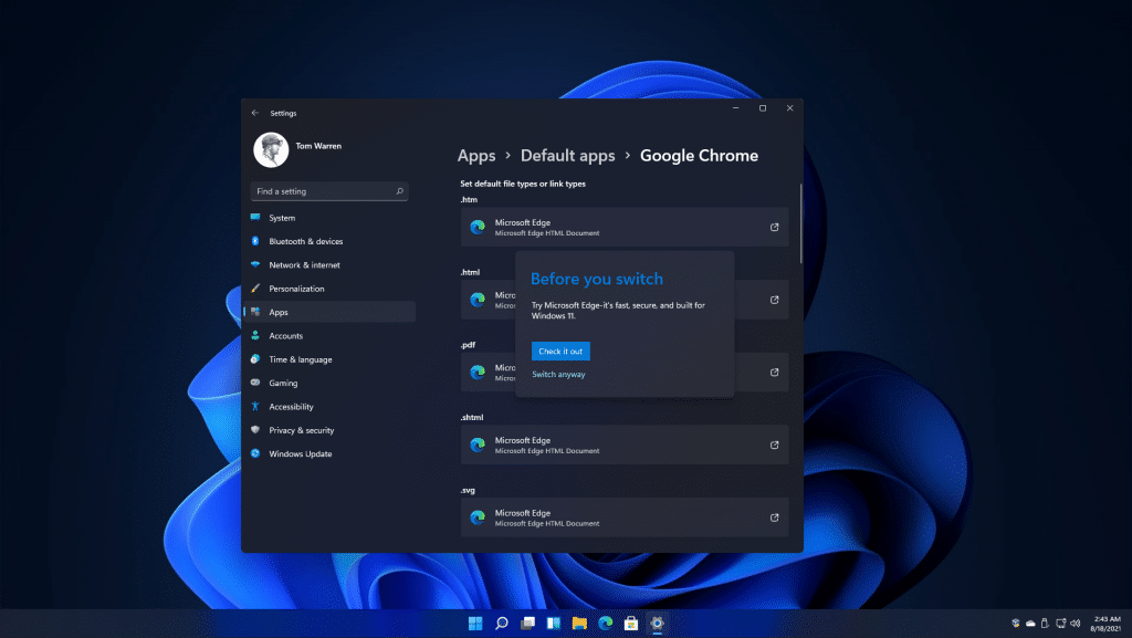 Windows 11 Will Make It Harder to Switch Default Browsers