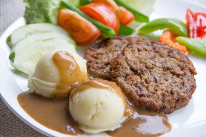 meal with mashed potato with gravy