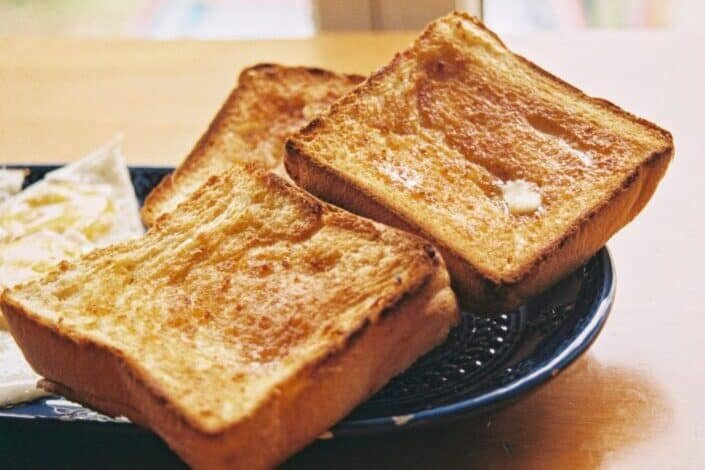 Toasted loaf breads on a plate