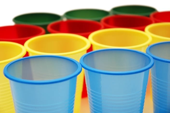 blue, yellow, red, and green plastic cups
