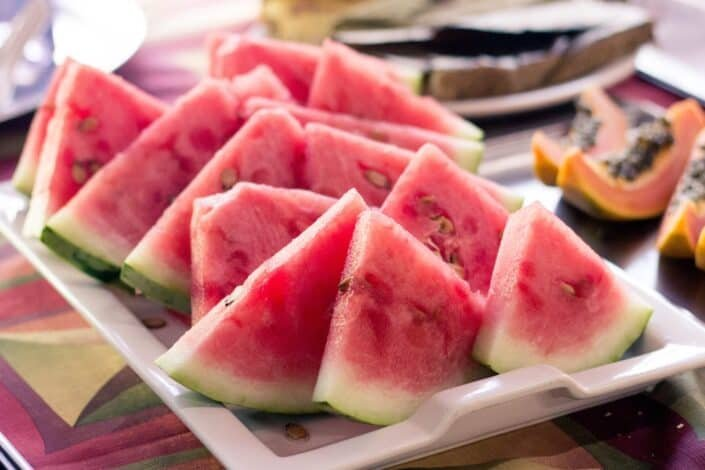 watermelon slices on a serving dish