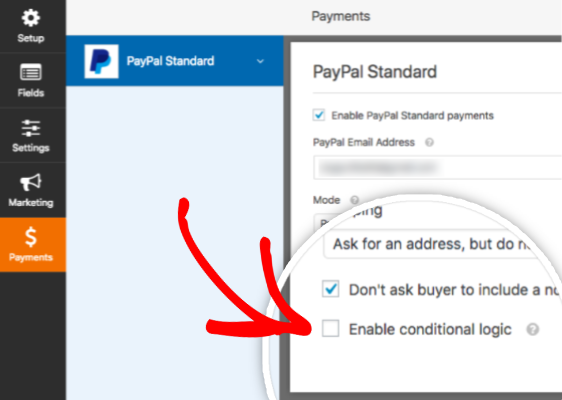 Enable conditional logic in WPForms PayPal addon