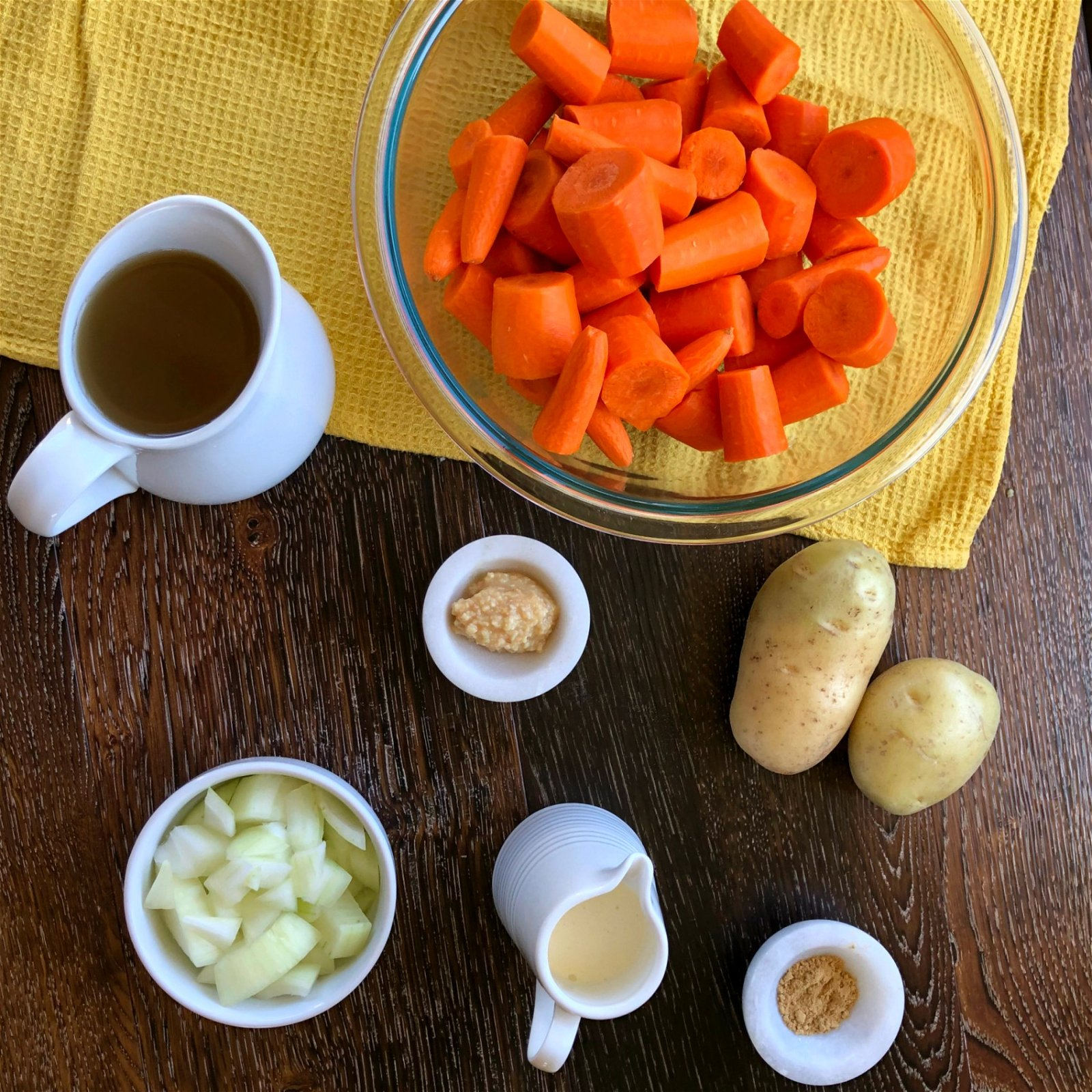 Ingredients for Carrot & Ginger Soup