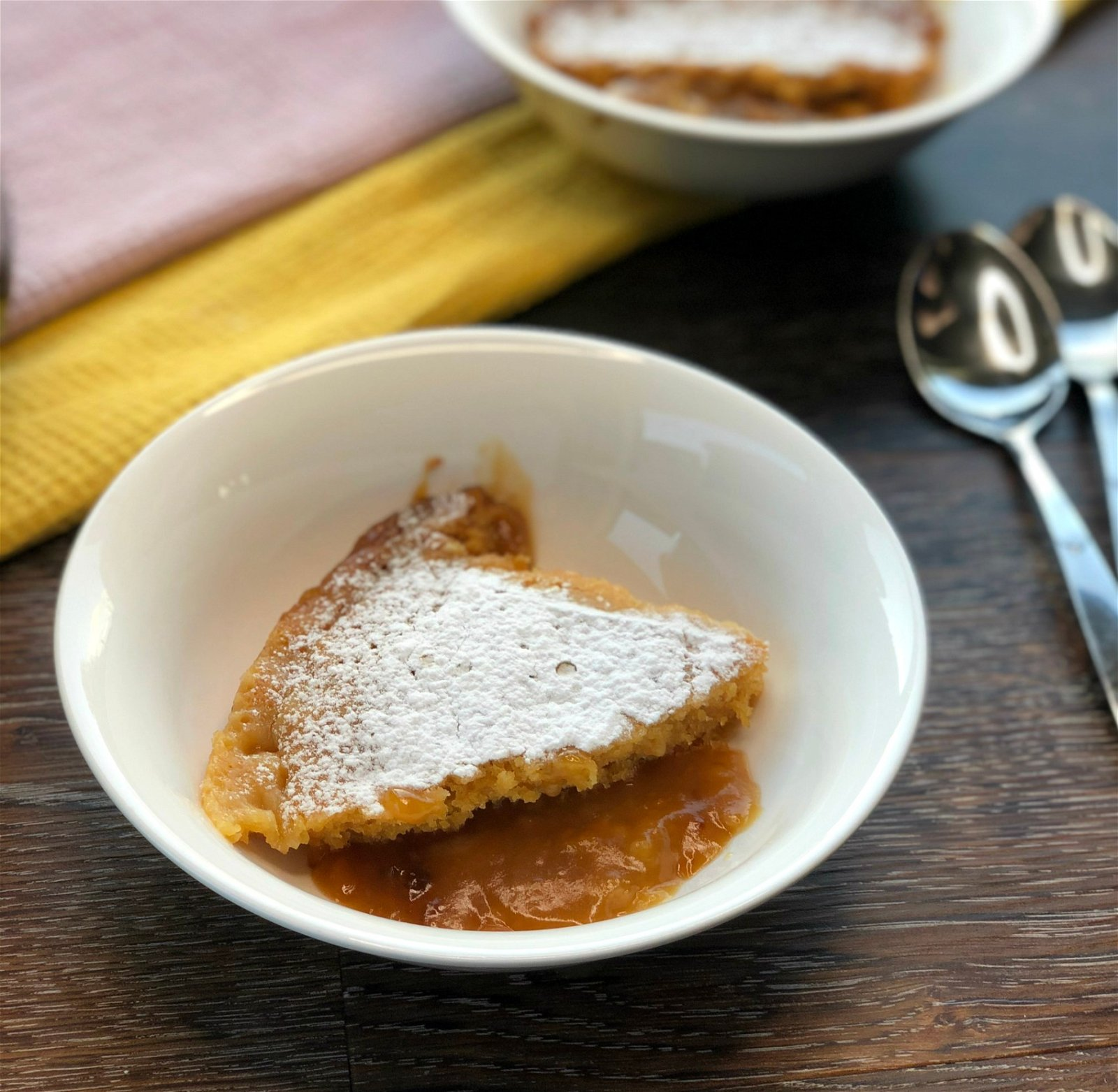 Serving of Butterscotch Self Saucing Pudding cooked in a crock pot