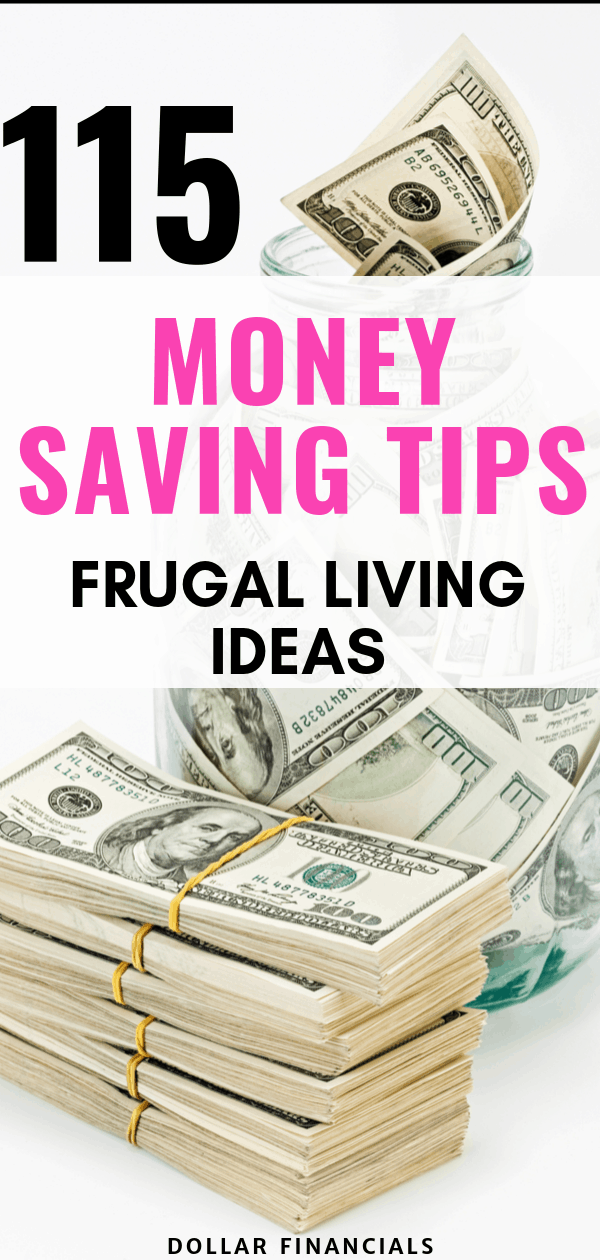 Looking for ways to save money? Check out this ultimate list of 115 fugal living tips I use to save money every month. THese tips will help you budget, save money, live frugally and make your money saving challenge a breeze! PIN for Later! #savemoney #frugalliving #budget #budgetingtips #moneytips #finances #moneysavingchallenge #howtosavemoney