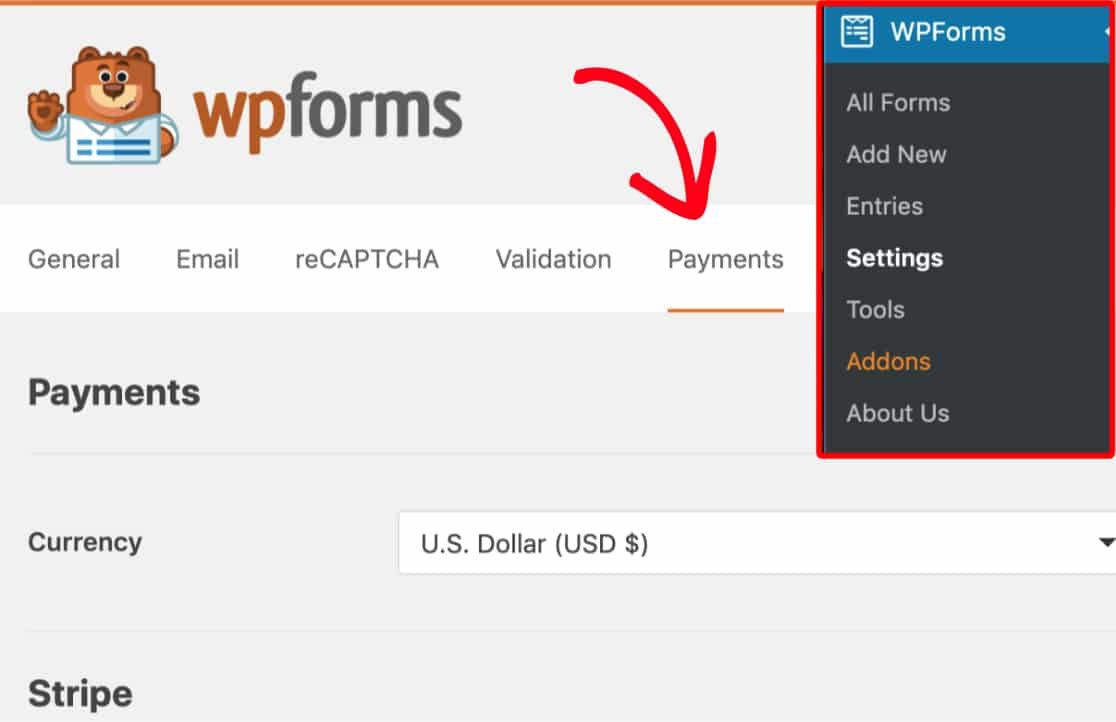 Open Payments tab of WPForms settings