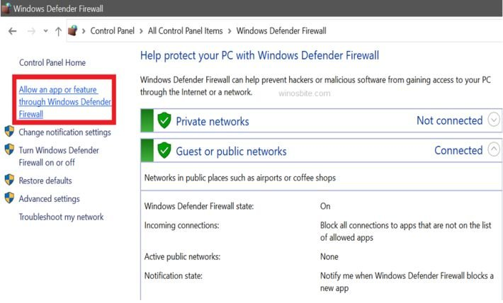 Windows defender allow an app or feature