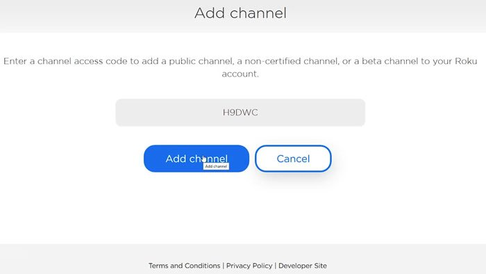 Roku Private channel
