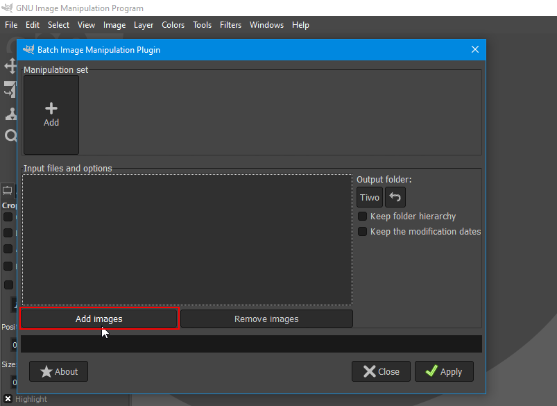 BIMP import images button highlighted
