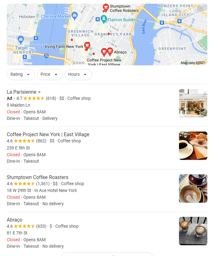 Marketing without cookies includes geotargeting like showing coffee shops in NY for NY-based users.