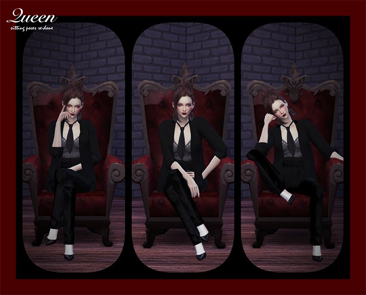 Queen Sitting Poses Set by Flower Chamber Sims 4 CC
