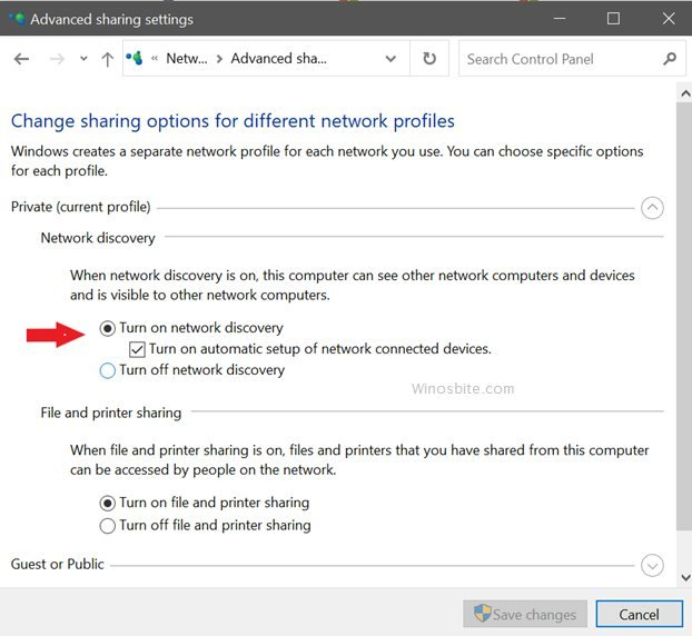 Turn on and network discovery option