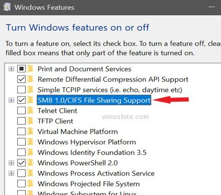 SMB1.0 turn windows feature on or off