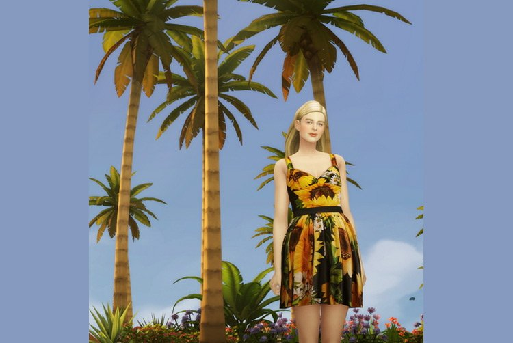 Rusty Nail Sunflower Dress for The Sims 4