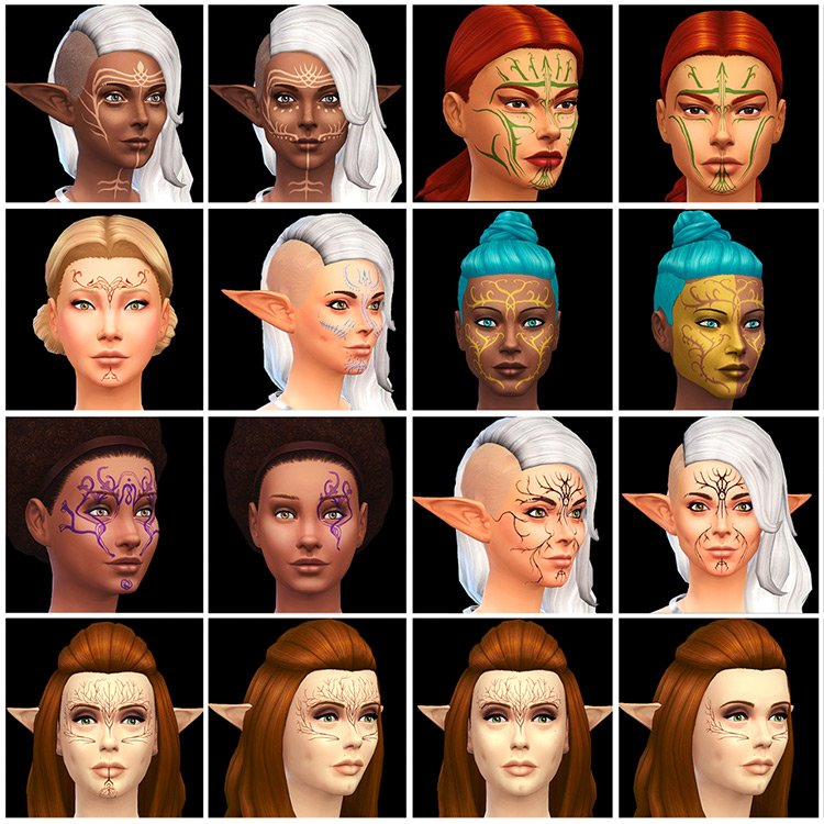 Vallaslin Tattoos (Dragon Age) for The Sims 4
