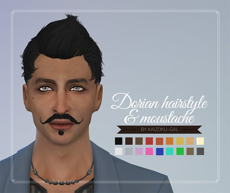 Dorian Hairstyle & Mustache for The Sims 4