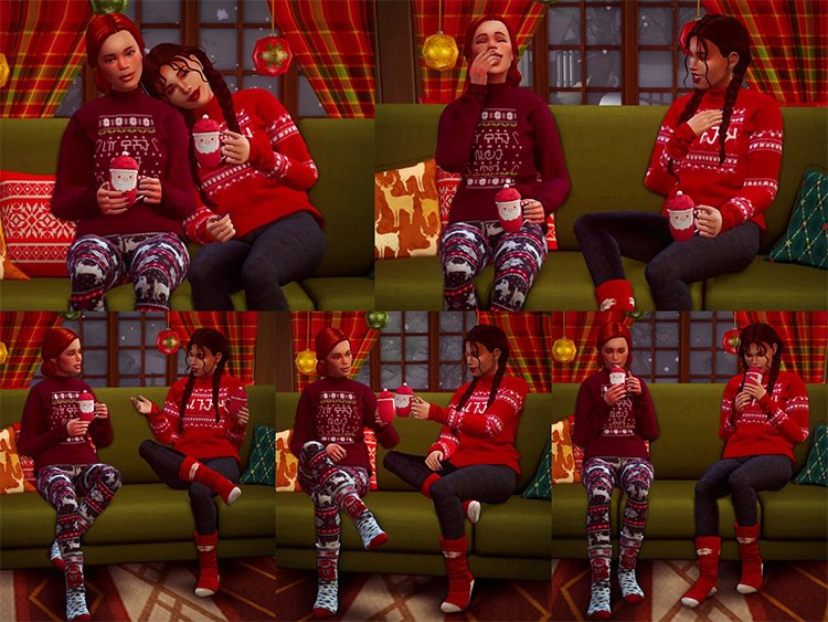 Sharing a Christmassy Drink Together / Sims 4 Poses