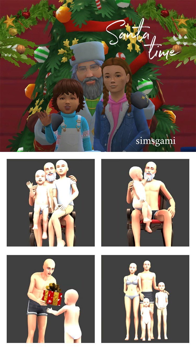 Santa Time Poses for The Sims 4