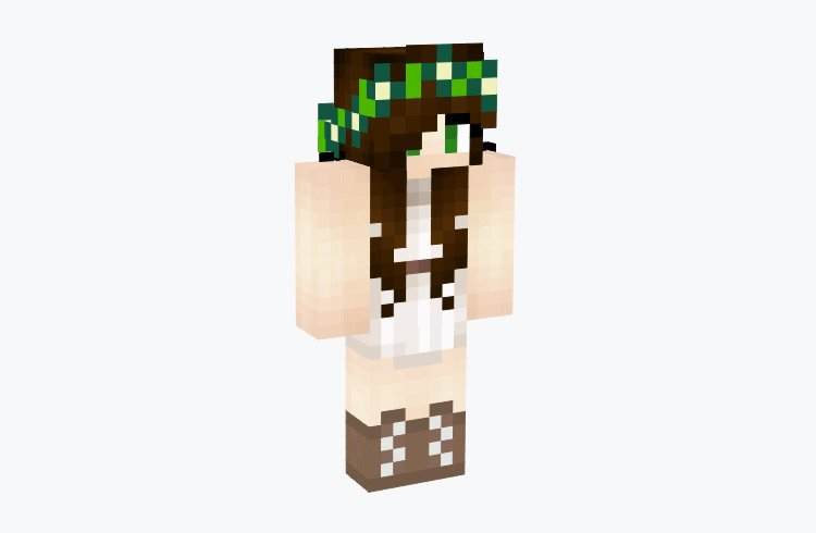 Moon Fairy with Green Crown / Minecraft Skin