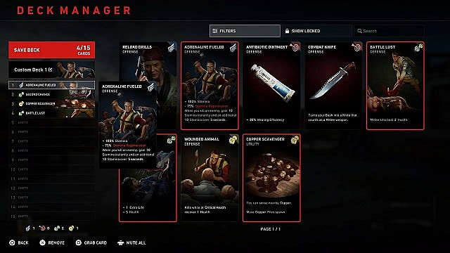 Back 4 Blood's multiplayer cards deck manager with custom deck.