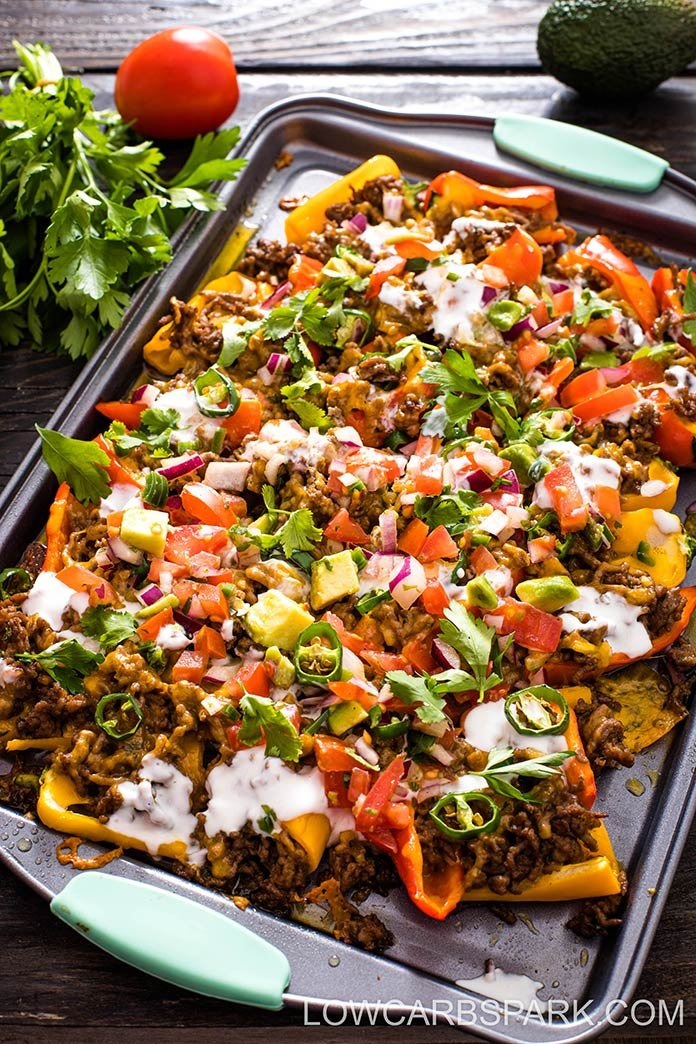Low Carb Nachos with Mini Peppers are a fun and delicious way to enjoy loaded nachos without the carbs. Loaded nachos are easy to make, perfect for a party, Game Day, snack, or quick dinner.